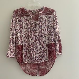 lucky brand red paisley floral button blouse